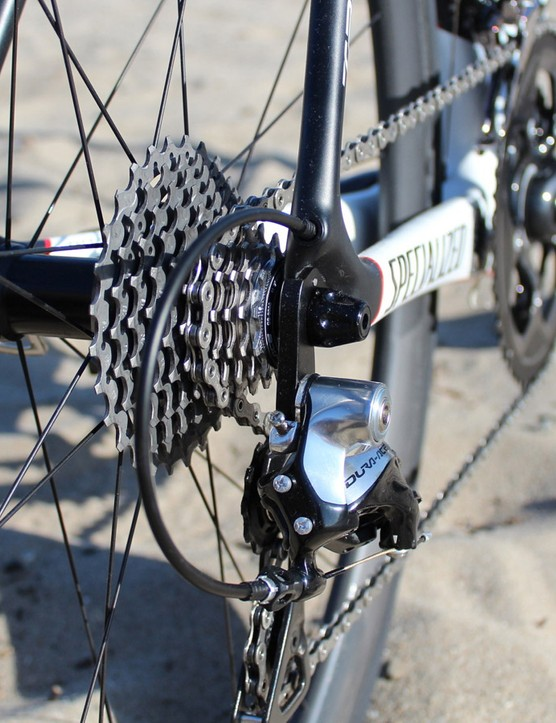 Unlike the Tarmac Disc with its unique spacing within a 135mm-wide hub, the rim-brake Tarmac uses a stanard 130mm hub, so you can use any road wheels