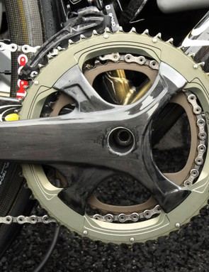 Europcar rider Maxime Mederel is using this prototype Campagnolo group at this year's Giro d'Italia. Details are scant but this is likely an all-new Record group