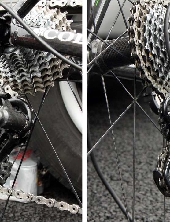 Much of the rear derailleur is made of molded carbon fiber. Tidy Allen-head set screws lend a clean appearance. And yes, there are eleven cogs on that cassette
