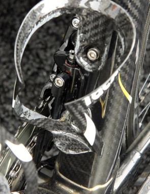 Although the front derailleur geometry is clearly different from current Campagnolo models, the company's current non-indexed Ergopower front shifter will likely still be compatible
