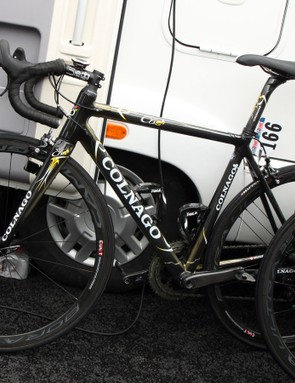 Hidden away on the Colnago C60 of Europcar rider Maxime Mederel was an all-new group from Campagnolo