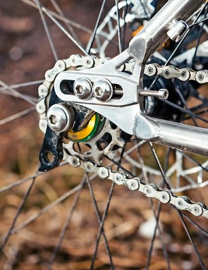 Adjustable dropouts mean hassle free geared or singlespeed setup