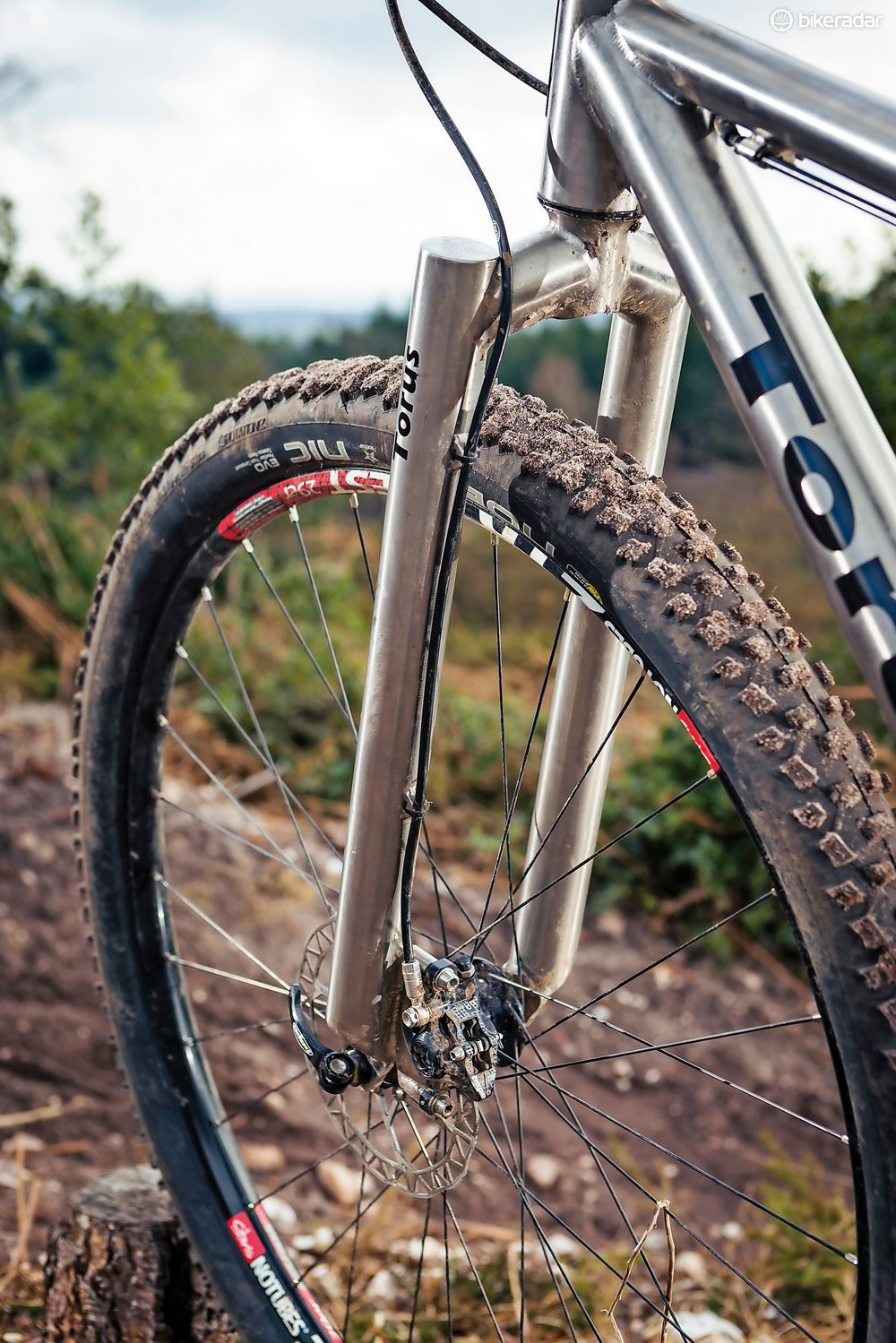 The rigid fork is made from the same plain gauge titanium tubing as the frame