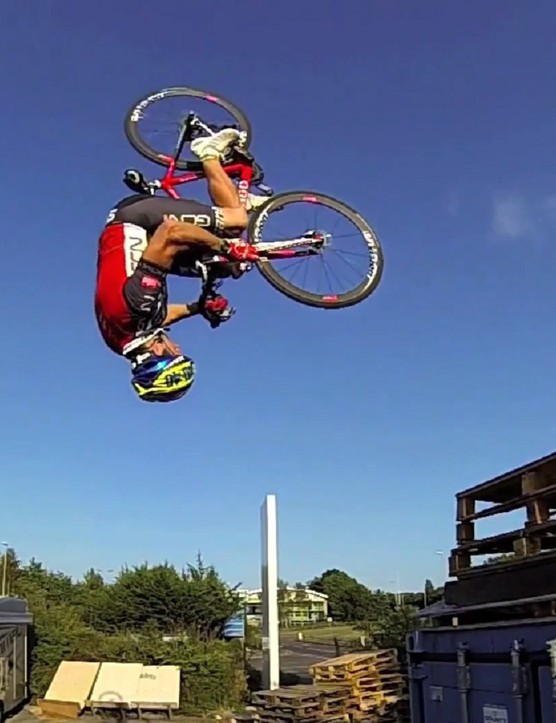 Martyn Ashton doing a flip for Road Bike Party 2