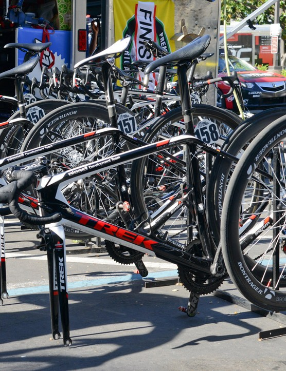SRAM's new electronic group is currently being tested at the Amgen Tour of California by the Bissell development team