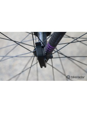 The front wheel is easily removed with this quick release. This has its merits, but make sure you lock up the bike securely