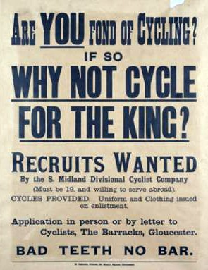 A recruitment poster for for soldier cyclists. It gives a new meaning to being a pro cyclist