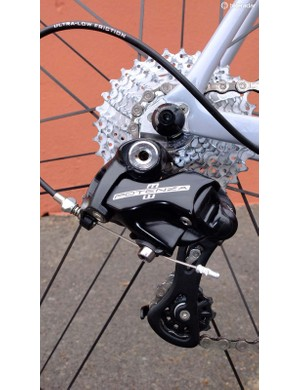 Potenza's rear derailleur comes in short or medium cage lengths to cope with the new 32 tooth sprocket