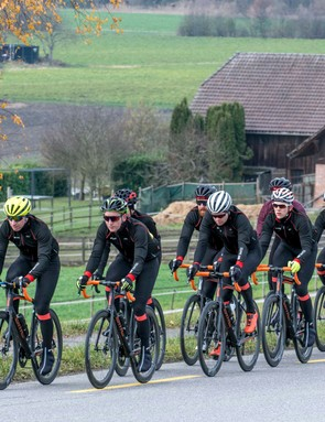 Leading the press pack (yellow helmet) on the first half of our Gran Fondo Seeland