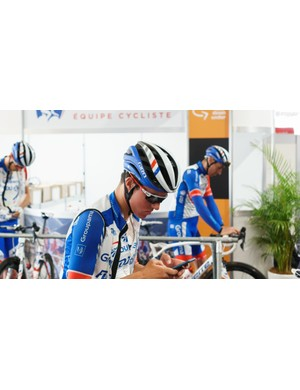 FDJ wears a custom-finished version of Giro's recently released Aether helmet