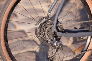 With a 42t front ring, the 10-42 cassette is like a jeep gear for climbing. I was able to creep up steeps pitches like the Koppenberg at a relatively high cadence. The 42-10 gets spun out on gentle descents, but it was fine for spinning on the flat paved roads of the Roubiax sportive in groups