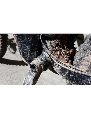 Underneath the mud (sorry!) is a proper, replaceable, bottom bracket
