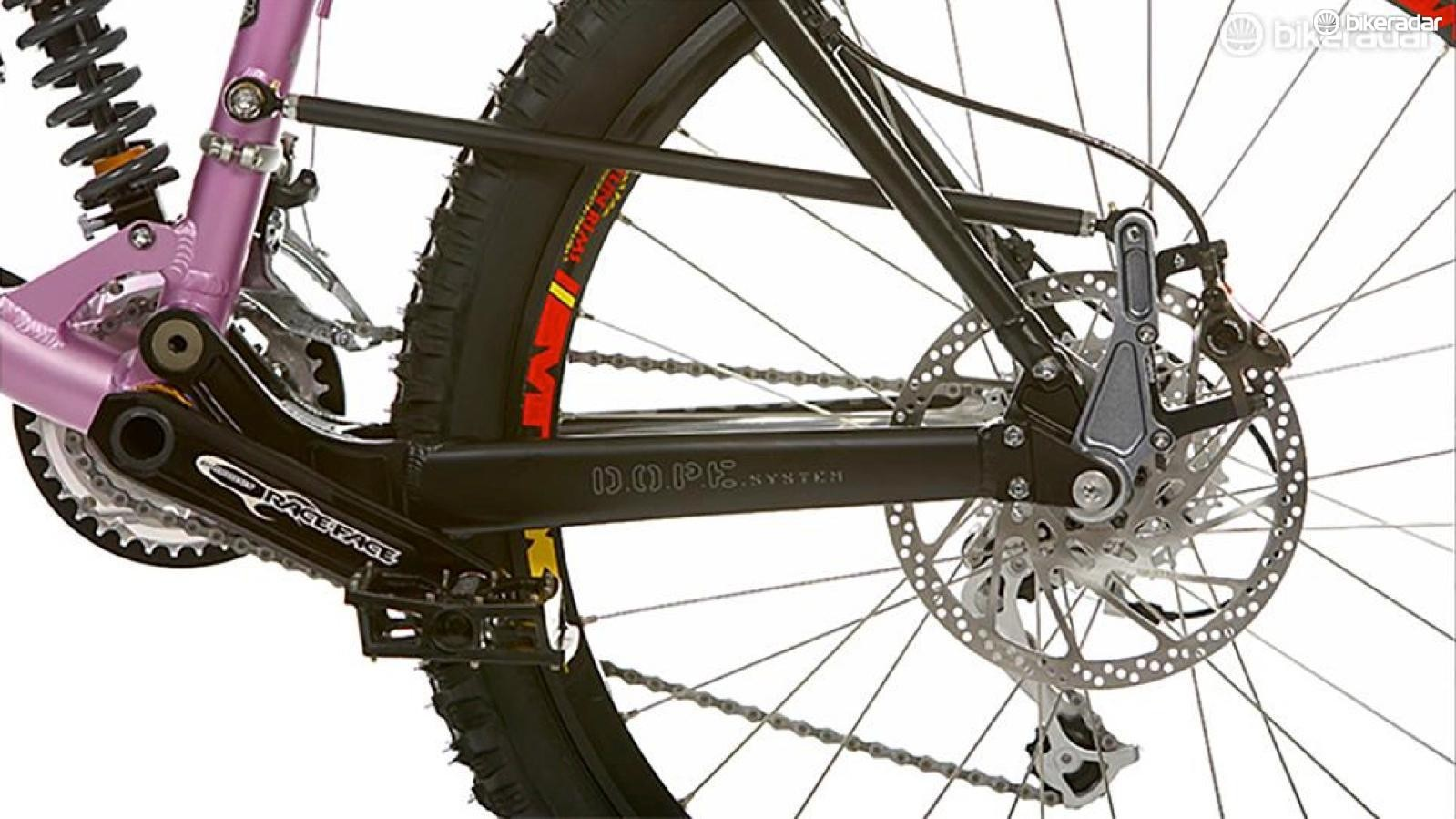 Brake arms reduced anti-rise by 'floating' the caliper between the chainstay and a secondary link, such that its IC was further forward