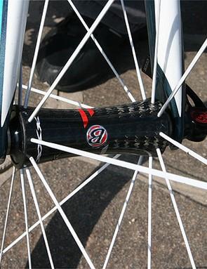 The Race XXX Lite wheels feature carbon hubs and carbon rims.