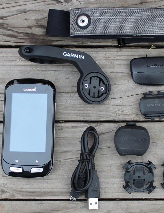 The Garmin Edge 1000 comes with maps preloaded, plus mounts and the USB cable. The Edge 1000 Bundle, shown here, also includes a heart-rate strap, cadence sensor and speed sensor