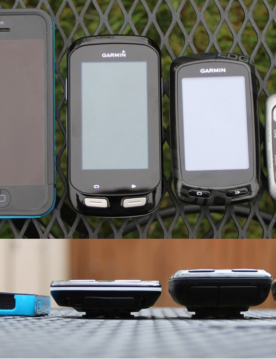 The Garmin Edge 1000 is quite large, but thinner than previous Edge models, such as the 810 and 500 shown here. The screen is 3in