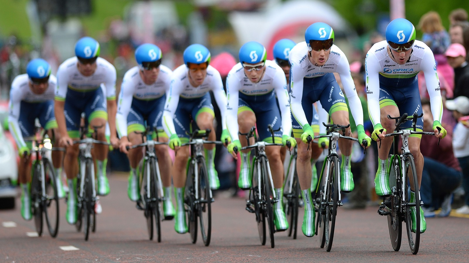 Team Orica-GreenEdge won the opening team time trial in Belfast