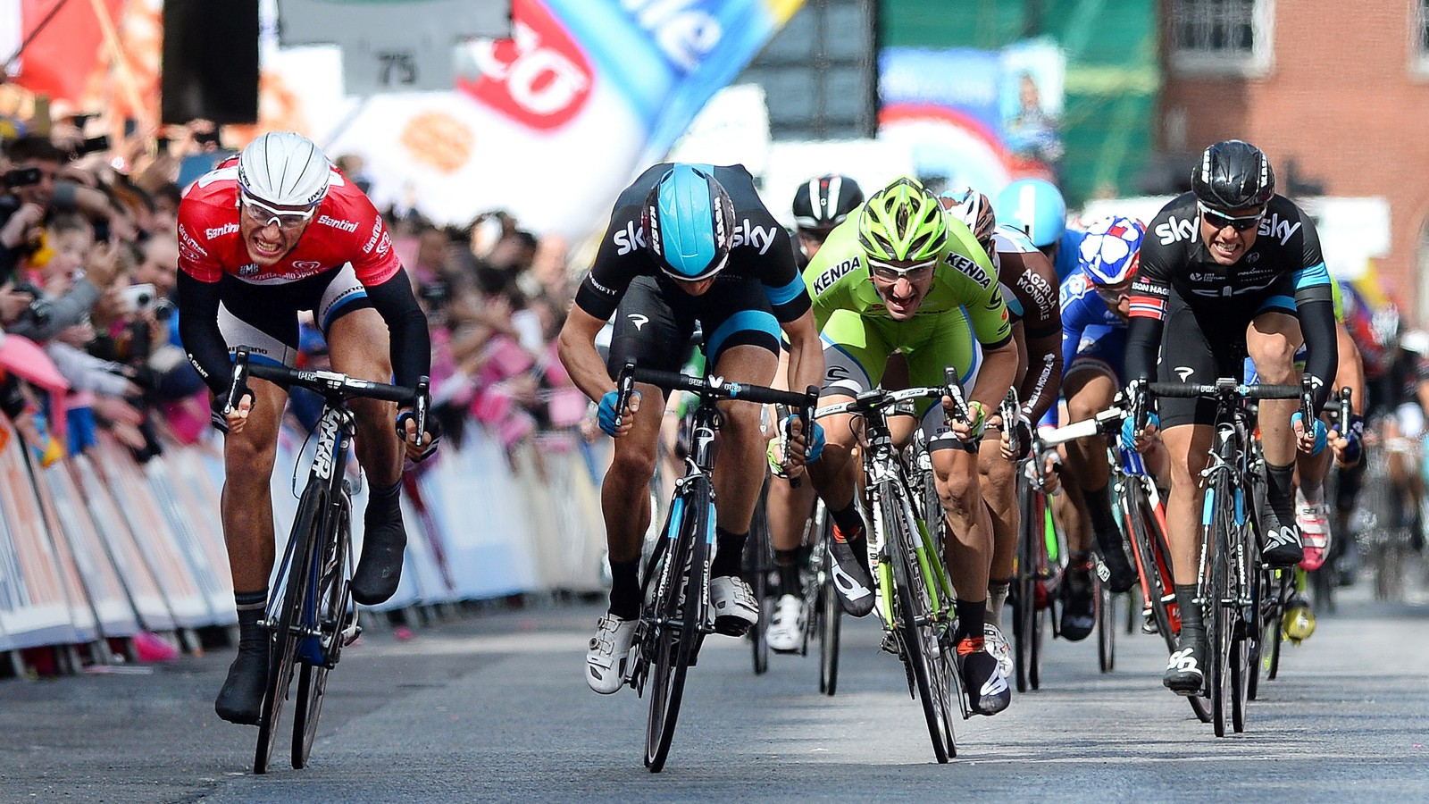 Marcel Kittel (in red) won stage 3 of the 2014 Giro d'Italia