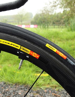 These tyres wear Mavic hot stamps but they've clearly been rebadged. The standard Mavic Yksion GripLink tubular has a completely different tread and is just 23mm wide