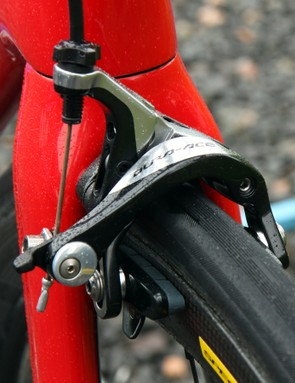Shimano Dura-Ace brake callipers are fitted with Shimano carbon-specific pads