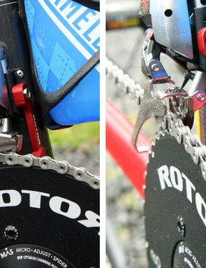 The Shimano Dura-Ace Di2 front derailleur is backed up with Rotor's adjustable chain catcher