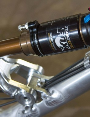 Chris's bike has custom Fox dampers at each end. The CTD shock has a more progressive tune than standard to provide more mid-stroke support...