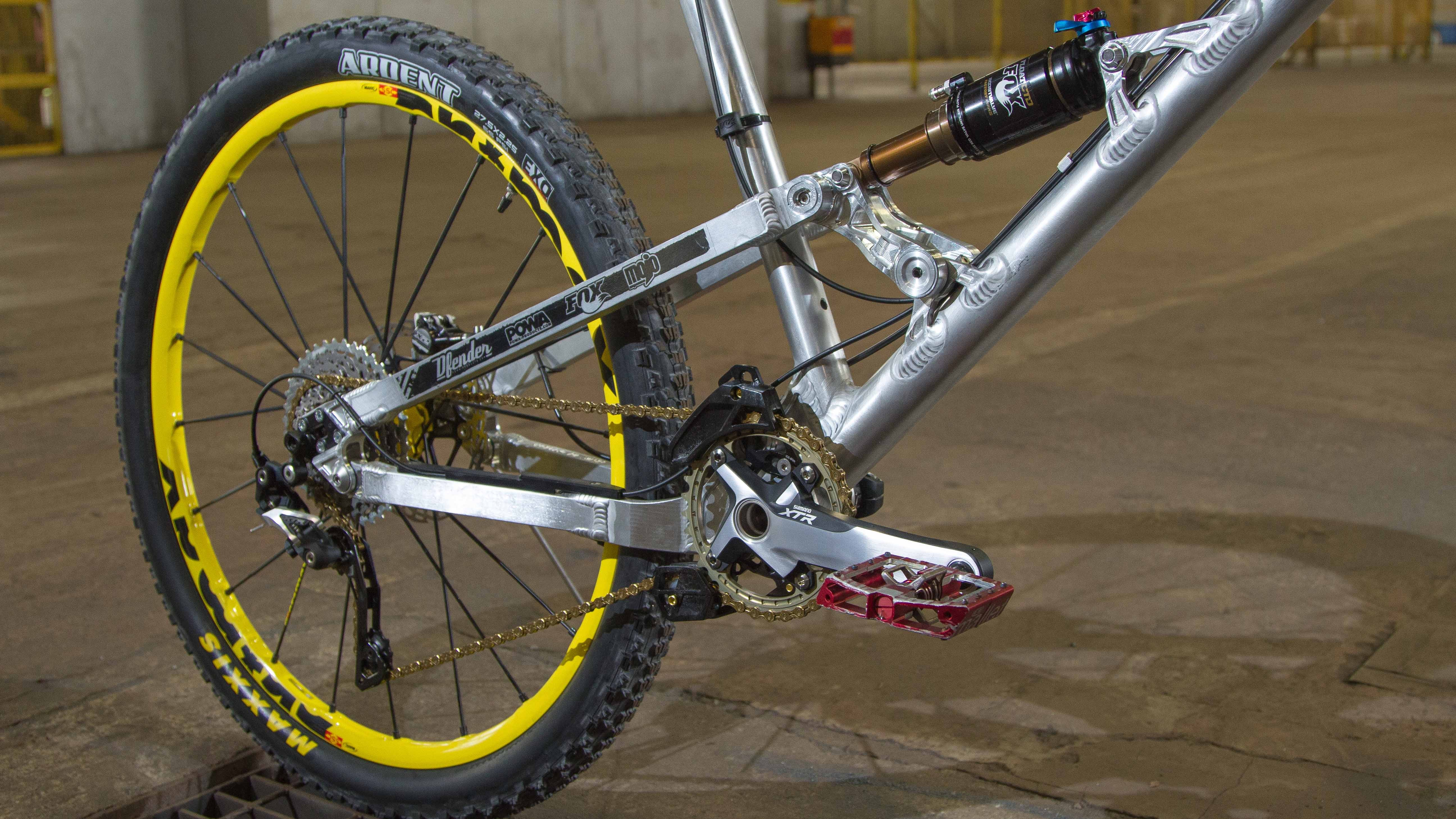 At 1,295mm, the Nicolai's wheelbase is all about stability at speed. Going against the trend for short rear ends, Chris's bike has hugely long 450mm chainstays, with additional 455 and 460mm swingarms on their way to make this lengthy beast even longer