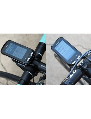 The stock Garmin mount (at left) puts the Edge 1000 higher than the stem but closer to the rider. The K-Edge mount puts it further out, but flush with the stem