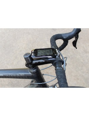 You can reverse the stock Garmin mount to set the Edge 1000 over the stem, but this only works well with positive-rise stems. Here, the mount is bottomed out on a -6 stem and the computer is not quite level
