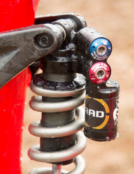 A closer look at the Fox Racing RAD rear shock. We expect this will be put into production in the near future