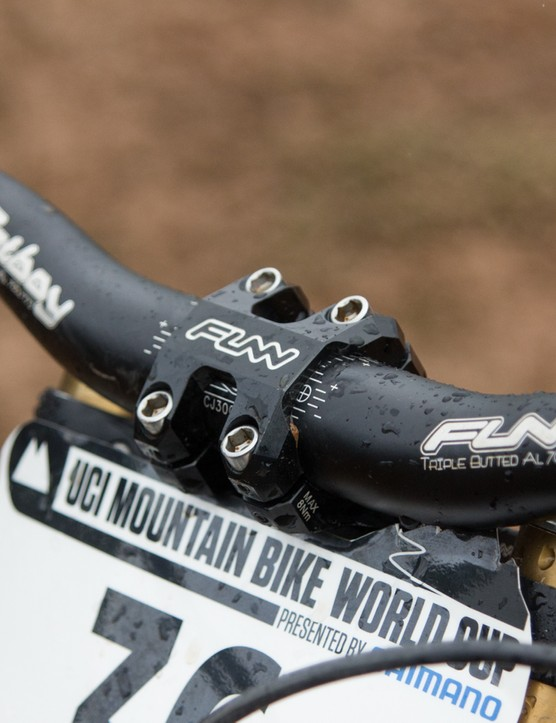 Funn provides the bars and stem for Trek World Racing. Brook uses an 800mm wide Fatboy model