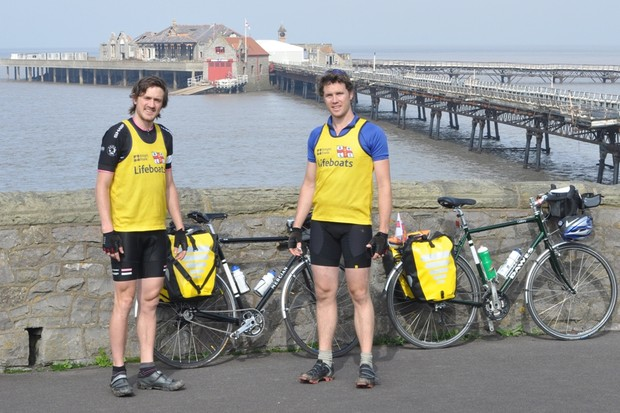 L-R Rad Hart-George and Nick Pleydell-Bouverie on their epic 7,000 mile journey to every lifeboat station in the UK