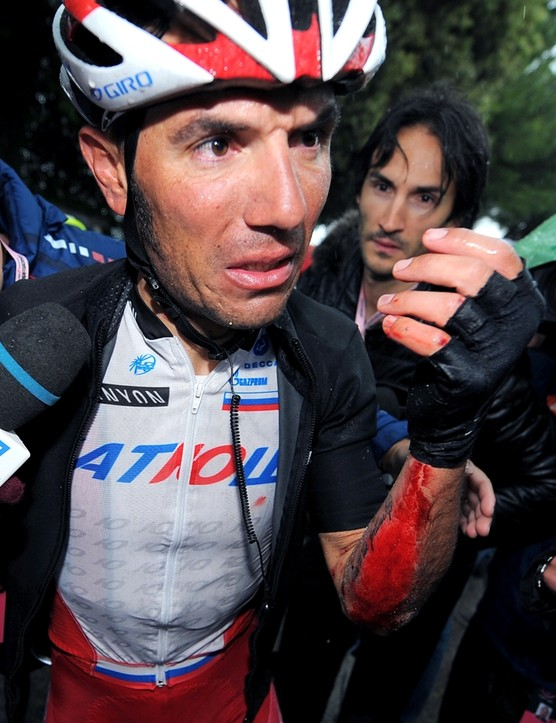 Joaquim Rodriguez suffered a broken rib and thumb and some nasty road rash on stage 6. For the Katusha rider, the Giro was over