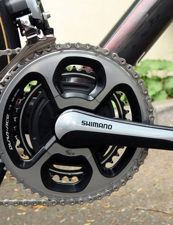 Cadel Evans (BMC) records his efforts with SRM's latest 11-speed-compatible power meter