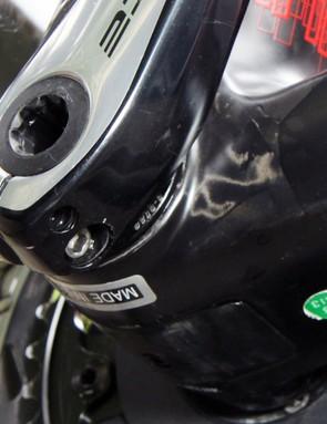 The Shimano Dura-Ace crankset rotates on a C-Bear bottom bracket