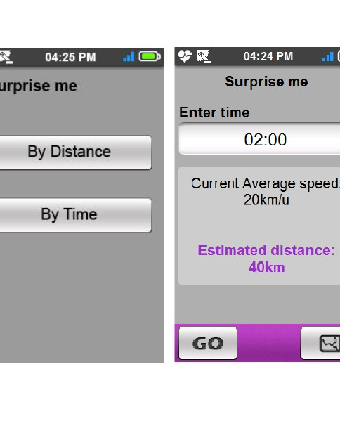 The 'Surprise Me' feature lets you find new routes by selecting your preferred time or distance