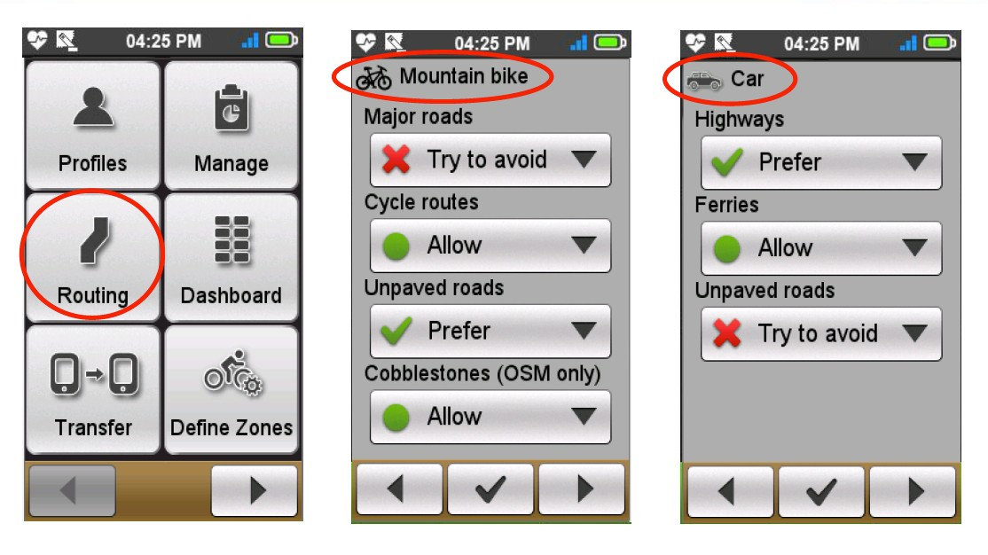 You can also tailor how and where the Cyclo computer guides you with ride preferences