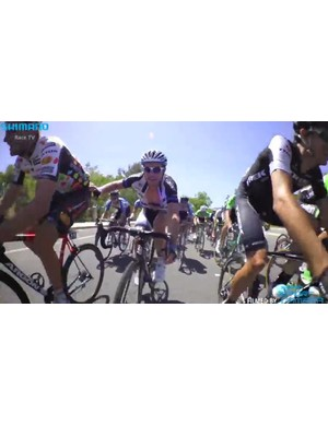 Degenkolb makes his way through the peloton at the end of stage 8