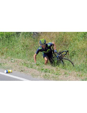 Nicolas Castroviejo makes his way back to the road on stage 9