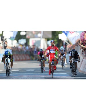 Nacer Bouhanni celebrates his sprint victory on stage 10