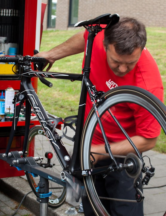 Every bike gets a full check-over the day before the race