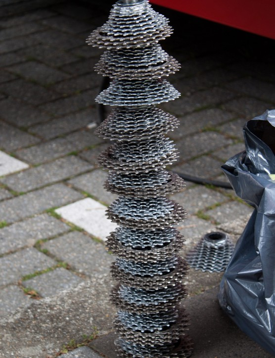This tower of Super Record cassettes is probably worth more than your best bike