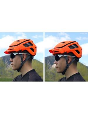 The removable visor offers a wide range of adjustment