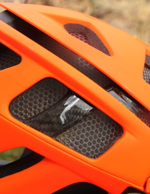Real carbon fiber is used to reinforce key areas