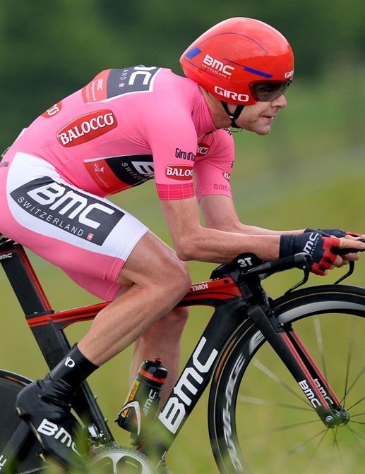 Cadel Evans' grip on the pink jersey slipped away in the time trial to Barolo...