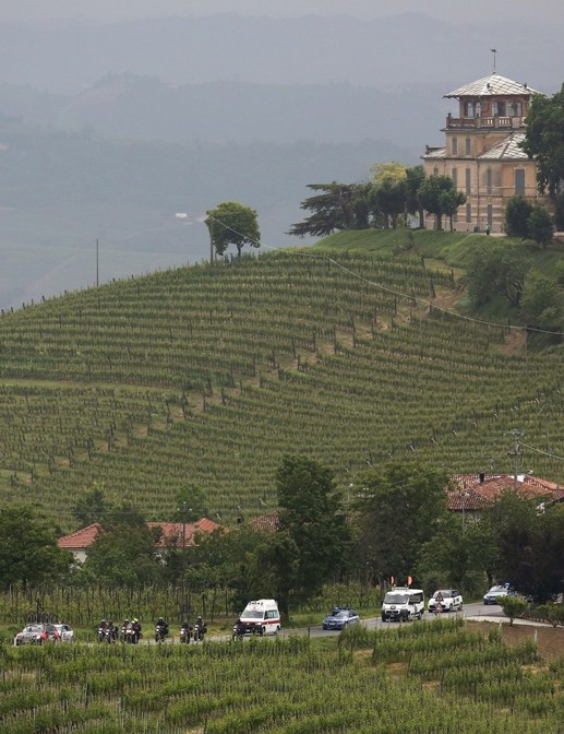 Barolo vineyards looked moody under heavy weather
