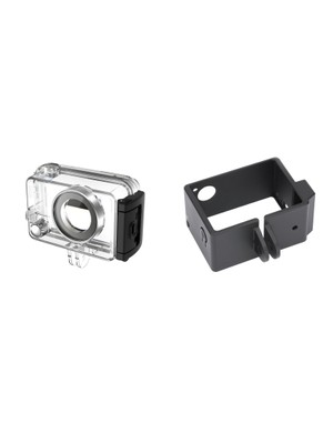 The additional connection required for the Sena Technologies Bluetooth Audio Pack prevents the use of standard GoPro cases but the company offers its own frame and waterproof cases to fit