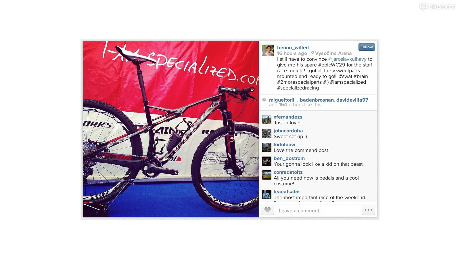 Specialized Factory Racing team mechanic Benno Willeit posted this picture to Instagram of Jaroslav Kulhavy's S-Works Epic World Cup, complete with a prototype short-travel Command Post dropper seatpost