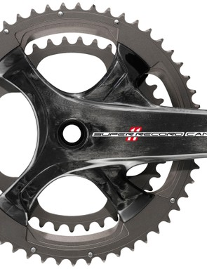 The 2015 Campagnolo Super Record crank with a 4-arm spider eliminates the compact-specific crank option. Now Campagnolo, like Shimano, has a bolt circle diameter that works with compact, semi-compact and standard chainrings