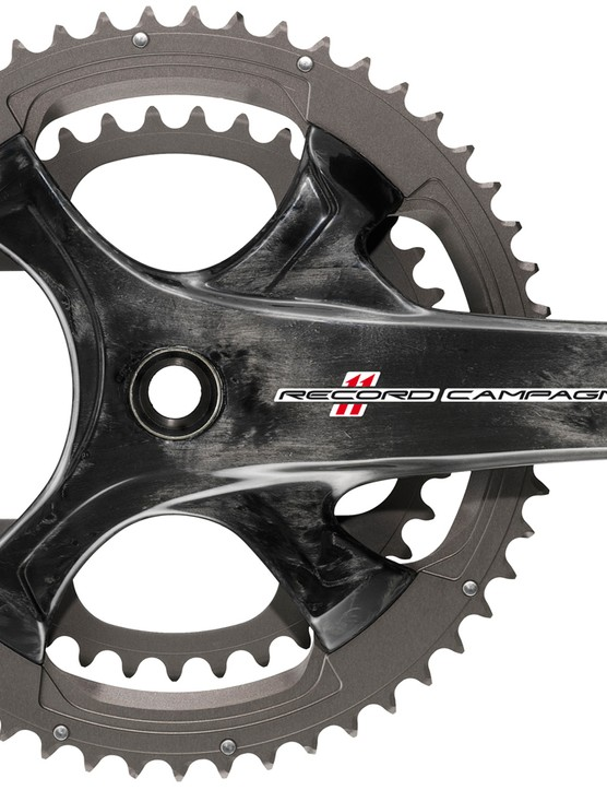 The 2015 Campagnolo Record crank features the same 4-arm spider design as Super Record